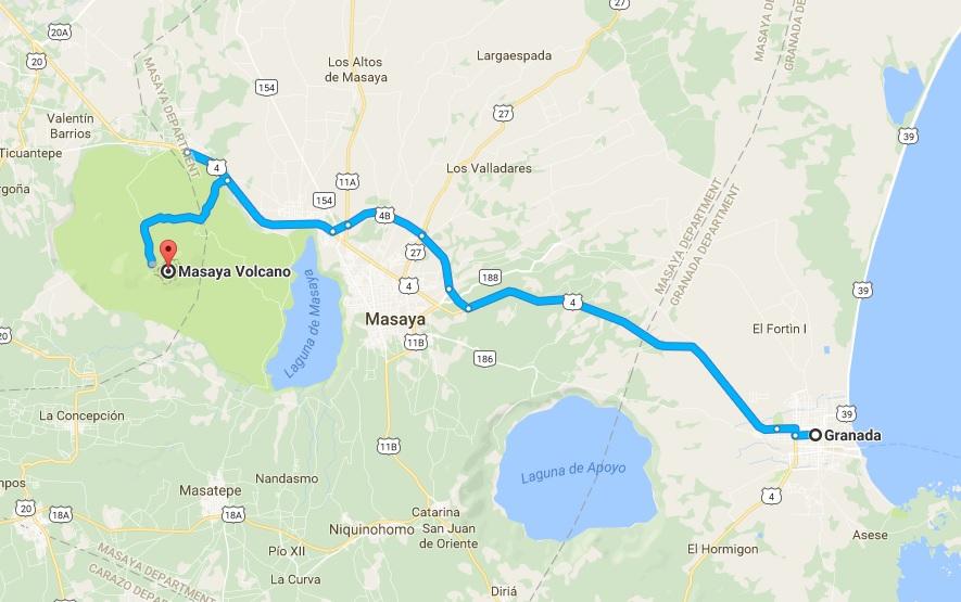 granda to masaya volcano map