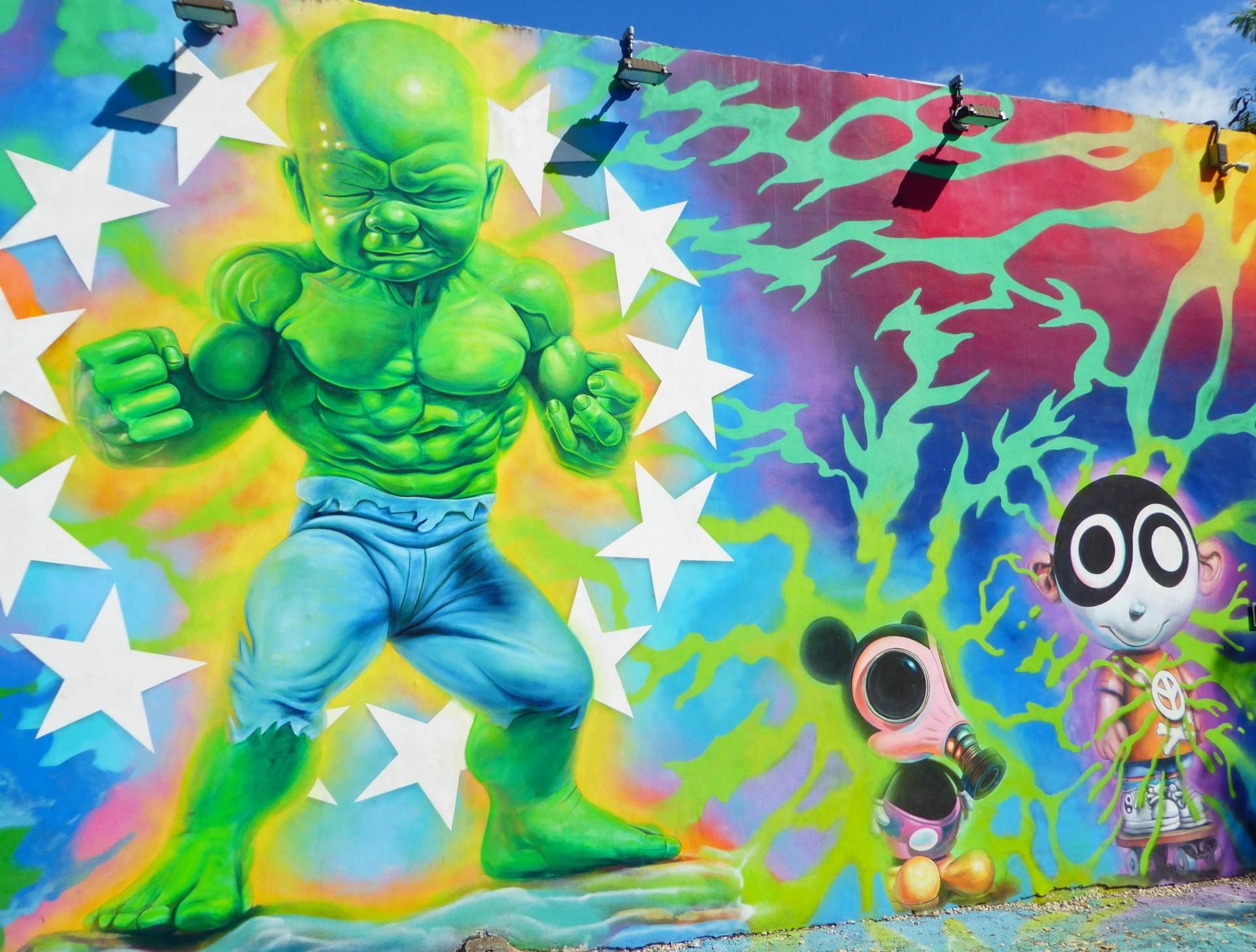 wynwood walls miami florida street art colourful baby hulk
