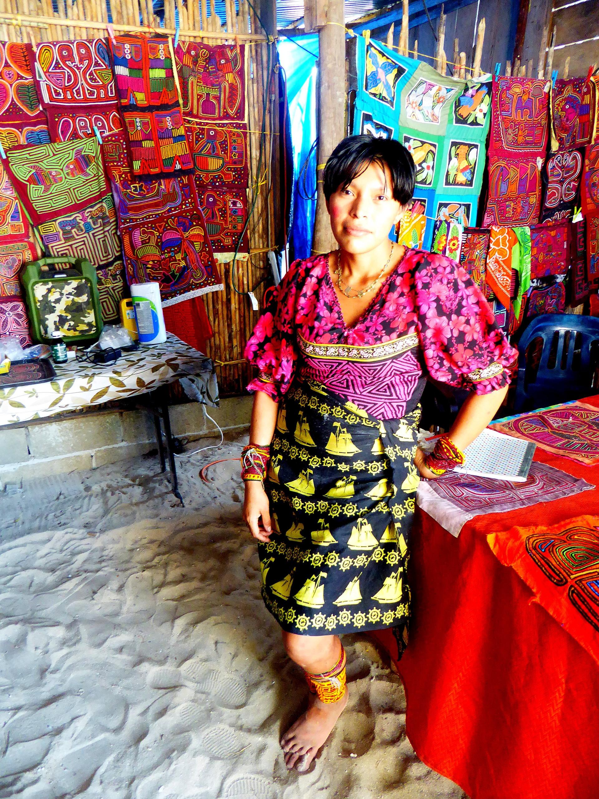 kuna guna indigenous woman san blas panama islands